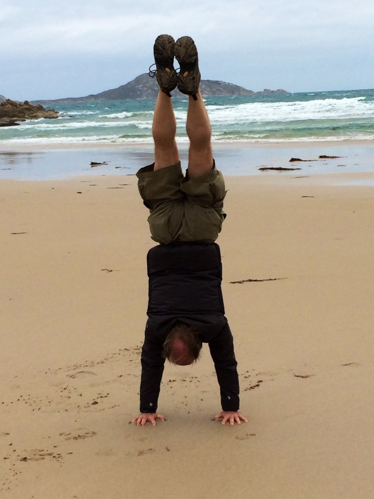 Dave Pugh at a very cold Whisky Bay, Victoria, Australia. Can you guess who taught him how to do this?